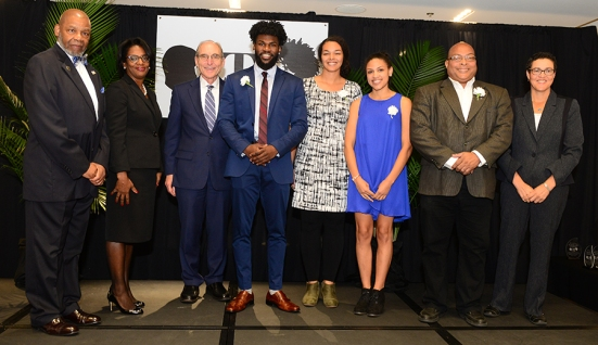 College of Arts & Sciences Torch Bearers Isaiah Brown, Cassie Bradley and Kortni Dubose and Torch of Excellence winner Arnold Farr