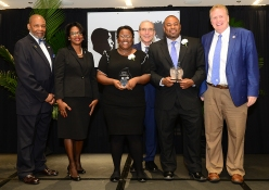 College of Communication & Information Torch Bearer Maria Jones and Torch of Excellence winner Shawn Long