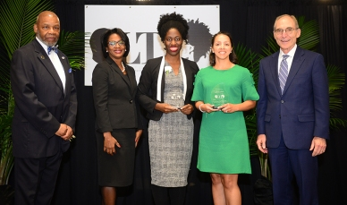 College of Medicine Torch Bearer Eseosa Ighodaro and Torch of Excellence winner Dr. Wendy Jackson