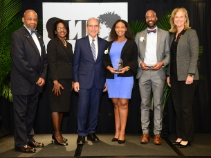 College of Public Health Torch Bearer Tsage Douglas and Torch of Excellence winner Timothy N. Clifford