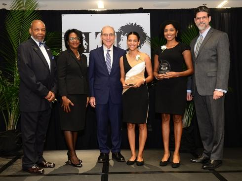 Lewis Honors College Torch Bearer Maya Woolfolk and Torch of Excellence winner La Tasha Buckner