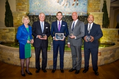 Photo by Tim Webb From left, Trudy Webb Banta, Winn F. Williams, Preston C. Worley, Paul Karem and Willis K. Bright were honored for their service to the UK Alumni Association during the recent Board of Directors Summer Workshop awards dinner.